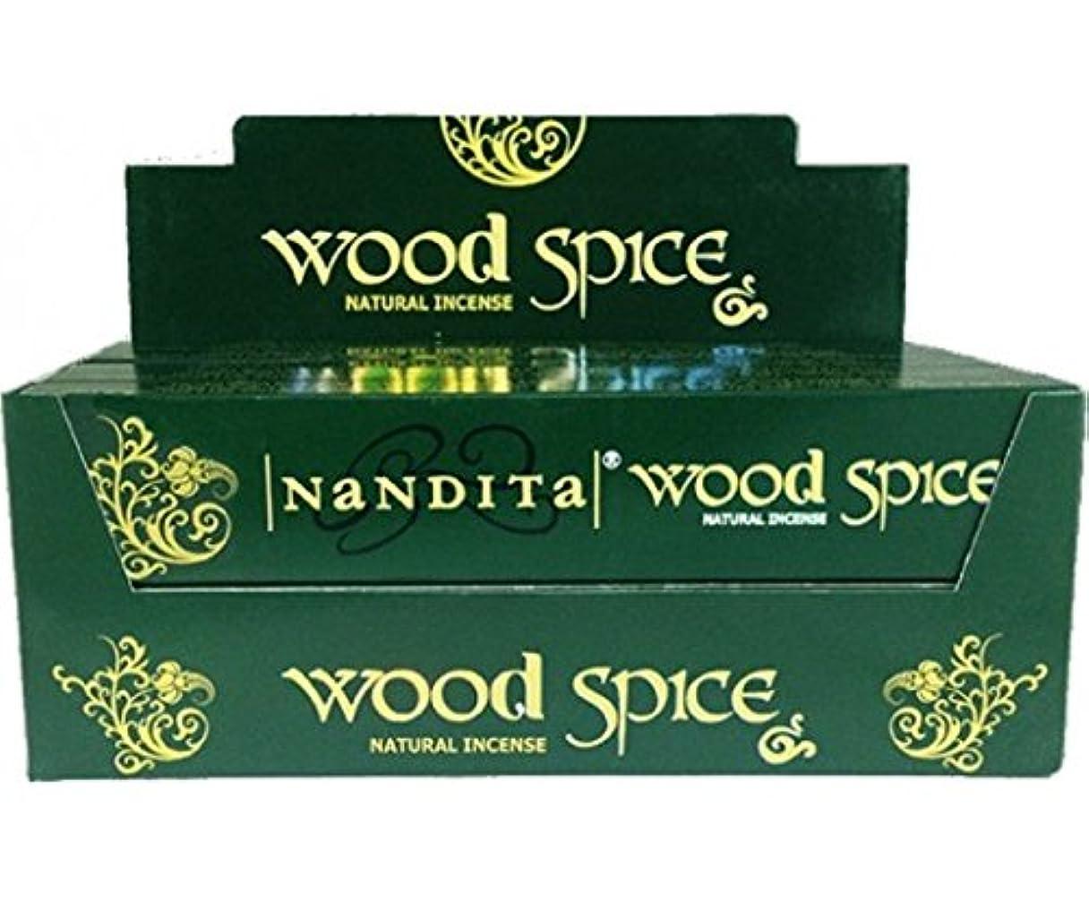 暗くするバンジョー行くNandita Wood Spice Incense Sticks 12 x 15 gms Agarbathi