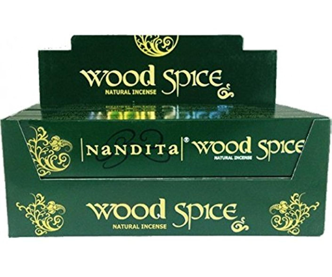 瞳スペード横Nandita Wood Spice Incense Sticks 12 x 15 gms Agarbathi