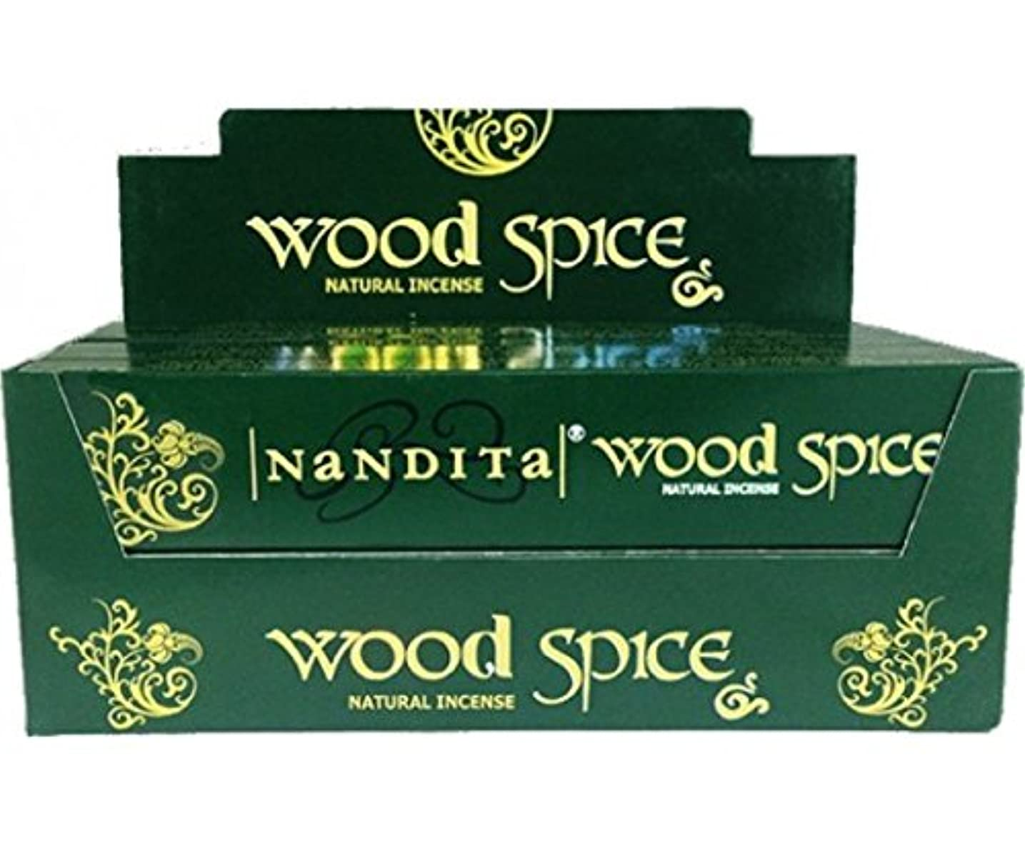 発行ポータブルソファーNandita Wood Spice Incense Sticks 12 x 15 gms Agarbathi