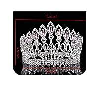 豪華な輝くクリスタルバロック女王キングウェディングティアラ王冠ページェントプロムダイアデムヘッドピースブライダル髪の宝石のアクセサリー、シルバーピンク