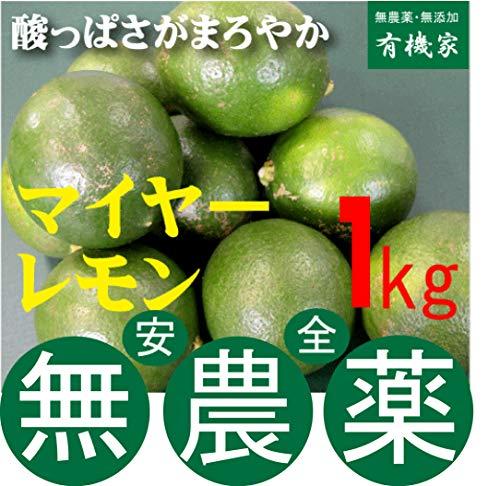 国産 無農薬 マイヤーレモン 1kg※季節限定品★送料無料 宅配便★有機JAS(無農薬・無添加)★熊本県産★1kgは約10個です。★ノーワックス★オーガニックレモン【注】多少黄色くなっている場合もあります。