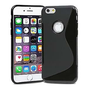 Apple iPhone6 Plus [ 5.5inch ] TPU グリップカバーケース ( アイフォン iPhone 6 5.5 インチ 対応 ) 薄型軽量24g / 滑止め加工 / ソフトフィットモデル 【MY WAY 出品カラー全7色】 (iPhone6 Plus (5.5inch), Design S Black (黒))