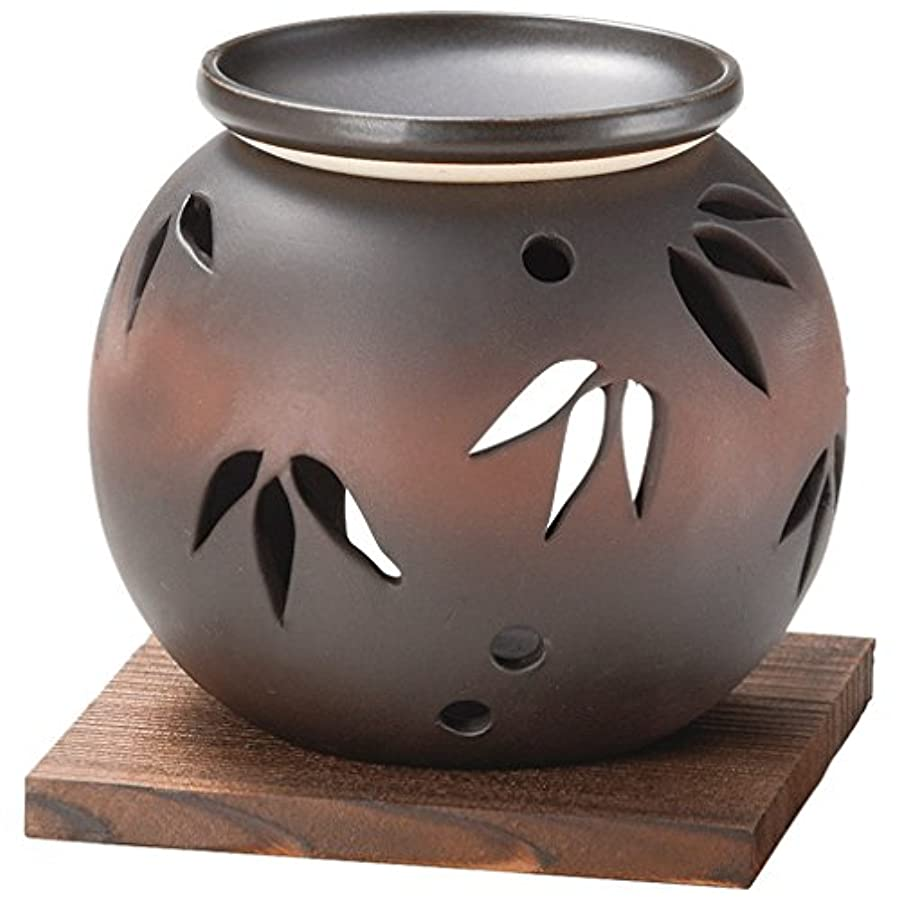 迅速航空ヒューズ山下工芸 常滑焼 茶窯変笹透かし茶香炉 11×11.5×11.5cm 13045620