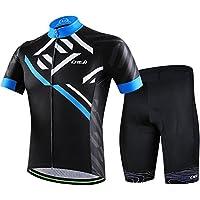 LSERVER 自転車ウェア メンズ サイクルジャージ 上下セット 半袖シャツ 3D立体パッドパンツ 吸汗 速乾 通気 サイクルウェア 春夏 ビブ選択可