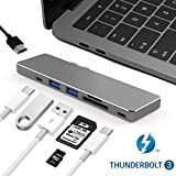 "USB C Hub macbook pro Type C adapter 7in1 USB C ハブ thunderbolt 3ポート USB3.0/USB-C/4K HDMI/SD/Micro SDカードポート 2016/2017 MacBook Pro 13""/15"" PD機能付き サンダーボルト3ハブ (USB C ハブ+HDMI機能付き)"
