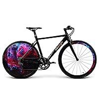 自転車、ロードバイク、Ledライトhyun Coolリアホイール、内蔵充電式リチウムバッテリー、アルミ合金フレーム、頑丈なホイールカバー、車重さ9.9Kg、車長160cm高さ80cm