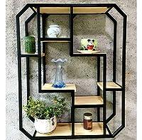 ヨーロピアンスタイルの壁に取り付けられた錬鉄製のラック、レトロでクリエイティブな木製の本棚、Boguの棚の壁の装飾ラウンドディスプレイスタンドシェルフ(色:ゴールド) (色 : ブラック, サイズ : ワンサイズ)