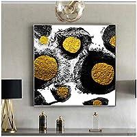 グラマー抽象アートワーク、黒と金の抽象キャンバスプリント、ポスター、プリントリビングルーム用の壁の装飾キャンバス絵画(枠なし)70x70cm