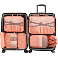 Cloudsky 7 Set Packing Cubes, Travel Storage Bags Multifunctional Clothing Sorting Packages, Travel Packing Pouches, Luggage Organizer Pouch, Shoe Bags (3 Travel Cubes + 4 Pouches, Orange)