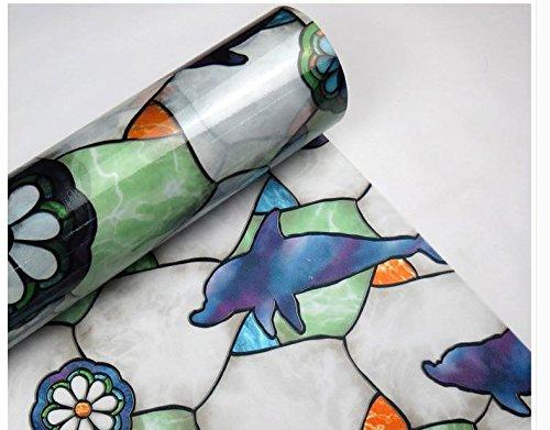 IPINDO(イッピンドウ)イルカ柄窓用フィルム 浴室目隠しシート 静電気の力で吸着 再利用可能 飛散防止 断熱/紫外線UVカット プライバシーガラスフィルム(90cmx 200cm)