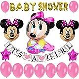 ミニーマウス ベビーシャワー 装飾 女の子用 ピンク パーティーデコレーション ベビーガールバナー ベビーミニーバルーン