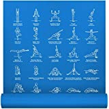 "NewMe Fitness Instructional Yoga Mat Printed w/ 70 Illustrated Poses, 24"" Wide x 68"" Long, for Women & Men : Non Slip, Eco Friendly PVC, Non Toxic : for Home or Gym : 5mm Thick"