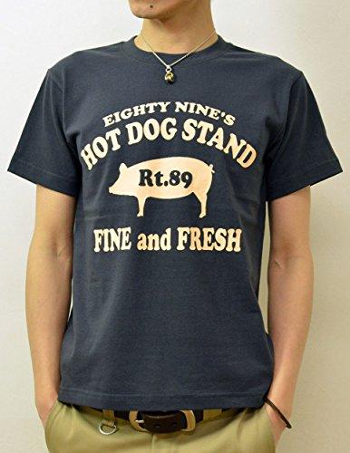 (ジーンズバグ)JEANSBUG 89's HOT DOG オリジナル ホットドッグ 豚 モチーフ プリント 半袖 Tシャツ メンズ レディース 大きいサイズ ST-HOTDOG XL スミ(165)