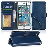 【Arae】iPhone6s Plus ケース / iPhone6 Plus ケース 手帳型 スタンド ストラップ カード マグネット 財布型 落下防止 衝撃吸収 おしゃれ おすすめ アイフォン6s プラス / アイフォン6 プラス ケース カバー (ダークブルー)