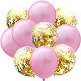 Taofang 12インチローズゴールドバルーンシリーズバルーンパーティー紙の紙吹雪ドットパーティーの誕生日の装飾 バルーン (Color : Pink+RoseRed, Size : ワンサイズ)