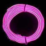 M.best 有機 ELワイヤーネオン 電池式 EL直径2.3mm 長さ5m トランスフォーマー付きELワイヤー 衣装 パーティー LED ライト 自転車 ライト 点灯・点滅機能 (ピンク)