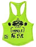 Slim Alive(スリム アライブ) メンズ スリムアライブタンクトップアスレチックトレーニングスポーツウェアジムボディービルディング L:胸105-115 cm 円弧裾-黄