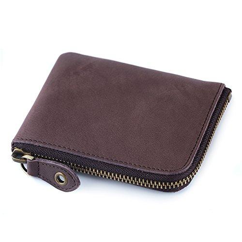 ONSTRO 財布 メンズ 本革 L字 ファスナー 鞣しレザー 小銭入れ カード収納 コンパクト 柔らかい 茶色