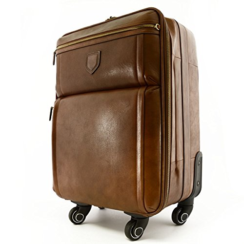 Made In Italy Genuine Leather Travel Trolley With 4 Multi Directional Wheels Color Brown - Travel Bag