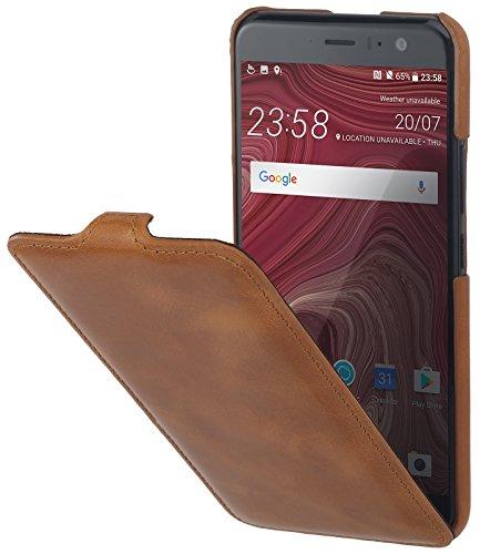 StilGut UltraSlim 本革 HTC U11 (HTV33, Softbank 版 HTC U11) 薄型 縦開き レザーケース オートスリープ機能付 コニャックブラウン
