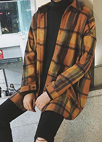 PIITE シャツ メンズ 秋 冬 ファッション 長袖 柔らかい チェック柄 ボタンダウン 韓国風 通勤 大人 かっこいい ゆったり カジュアルシャツイエローPT9