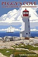Peggy 's Cove灯台–Nova Scotia 9 x 12 Art Print LANT-54762-9x12