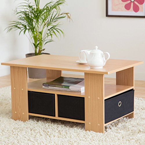 【お得な収納ケース2個付き 使いやすいセンターテーブル】(80×40cm) すっきり片付く収納テーブル 中下段で3分割 木製ローテーブル 32型テレビ台使用可 訳有り (ナチュラル色)