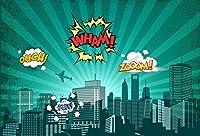Yeele 6x 4ftスーパーヒーローCityscape Backdrop City男の子誕生日パーティーバナーデコレーション写真背景画像赤ちゃん子供キッズPortrait写真ブース撮影ビニール壁紙Studio小道具