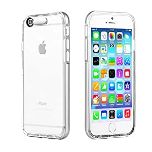 EC Technology iPhone 6 plus ケース 着信で光る 着信フラッシュ 衝撃吸収 落下防止 軽量 TPU(透明)+PC(シルバー)素材のコンビ構造 電池不要 透明-ケース本体は光れません