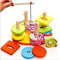 面白い子供おもちゃ木製Peggedパズル磁気釣りゲーム子供教育玩具色認識Shape Sorter Geometicブロックおもちゃ