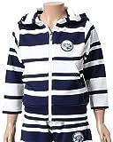 (ガッチャ) GOTCHA 子供服 キッズ パーカー ジップアップ リップルジャカード ランダム ボーダー フルジップ パーカ 男の子 71G3323 (ネイビ-・サイズ100)