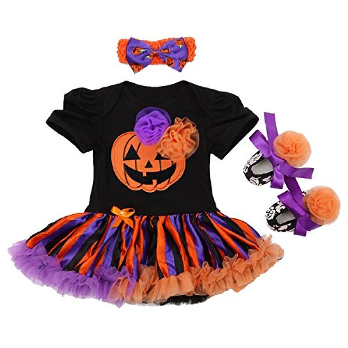 (ヘイトライ)heytr ハロウィン コスチューム 子供 ハロウィン 衣装 ロンパース 子供 かぼちゃ コスプレ 仮装 パーティ ベビー 魔女 パンプキン 3点セット (80(12-24ヶ月対応), タイプ2)