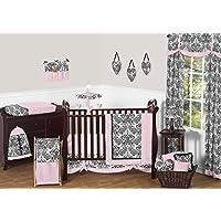 Sweet Jojo Designs 11-Piece Pink and Black Damask Sophia Girl Bedding crib set Without Bumper [並行輸入品]