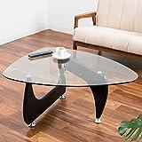 【ガラス テーブル おしゃれ イサムノグチ ローテーブル】 ガラス×木目、異素材の融合 イサムノグチ・デザインの名作コーヒーテーブル(リプロダクト) 色:ブラック