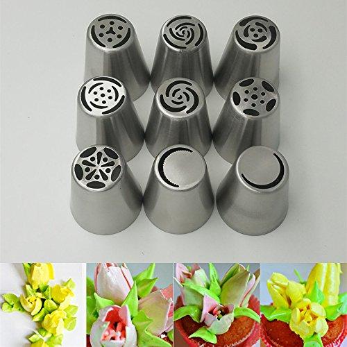 9種セット デコレーション 絞り口金 ステンレス製 ケーキ ノズル デコレーションツール お菓子つくり 製菓道具
