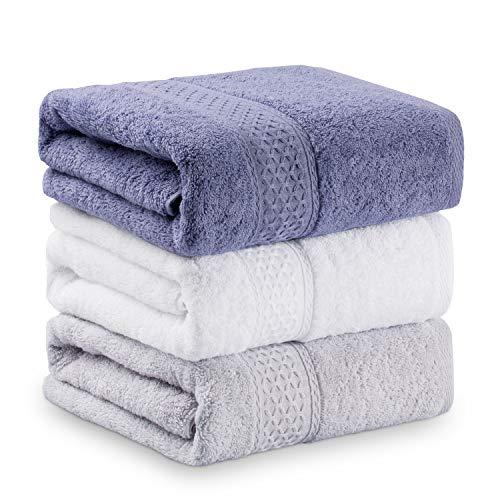 TIORU バスタオル 3枚セット 100% 綿 大判 人気 安い ふわふわ 抜群の肌触り 吸水抜群 70×140cm