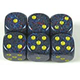 Twilight Speckled Dice Yellow Pips D6 16mm Pack of 6 Wondertrail WCX25766E6