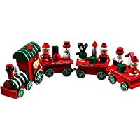 gqmartクリスマスおもちゃ4 Pieces Lively木製Xmas Mini Train装飾ギフト24.5 CM / 9.6 & Quot ;