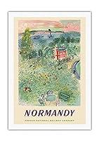 ノルマンディー、フランス - フランス国有鉄道 - ビンテージな鉄道旅行のポスター によって作成された ラウル・デュフィ c.1952 - 美しいポスターアート