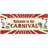 大型 カーニバル パーティー 背景幕 バナー 2019 - サーカス 誕生日パーティー用品 デコレーション カーニバル 写真ブース 小道具 壁装飾 屋内/屋外