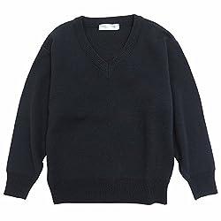 ASHBERRY (アッシュベリー) スクールVセーター ウール30%混ニット 男女兼用 無地 紺 洗濯OK(11100)
