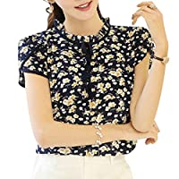 MIOIM ブラウス レディース 春 夏 かわいい 花柄 シフォンシャツ 薄い 半袖 カジュアル 桜祭 フリル インナー トップス