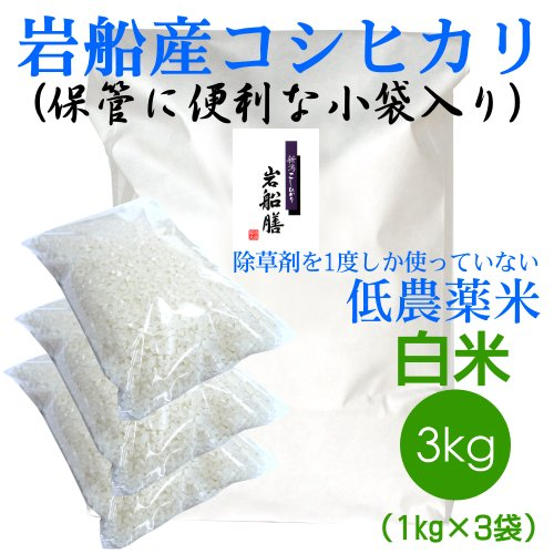 【おにぎりに最適!】新潟の米作り名人 田村さんの低農薬米 白米3kg 無洗米