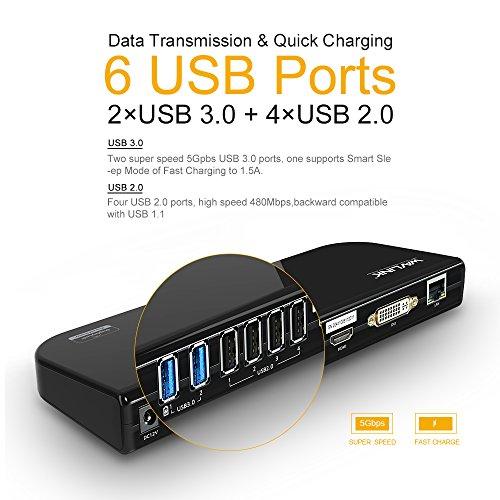 『Wavlink USB 3.0 ユニバーサル・ドッキングステーショ・デュアル ビデオモニタ・ディスプレイ 最高解像度2048x1152のDVI & HDMI & VGA ポート、ギガビット・イーサネットポート、オーディオ、6つのUSBポートはラップトップ、ウルトラブック、PCなどに対応 USB 3.0 ポートx2、USB 2.0 ポートx4、PSE認定されたAC12V2A 電源アダプター付』の5枚目の画像