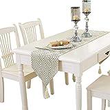 テーブルランナーモダンミニマルタッセルテーブルランナーリビングルームコーヒーテーブルテレビキャビネットキッチンテーブル,White,32*200CM
