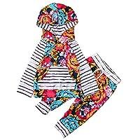 Mangjiu ベビーTシャツ 長袖 ストライプ 花柄 2点セット 家庭服 パジャマ 男の子 女の子 日常 子供服 (100, レッド)