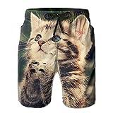 猫 メンズ 快適 サーフパンツ ハワイ風 夏物 メッシュインナー付き White SizeM