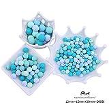 Mamimami Home 歯固め シリコーン製 ビーズ 12-15-20 mm ブルーシリーズ 200個 噛がため 丸ビーズ ネックレス おしゃぶりホルダー DIY 材料パッケージ [プラスチックボトル]