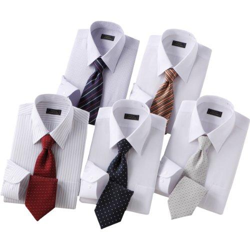 (フランコ コレツィオーニ)Franco Collezioni 銀座・丸の内のOL100人が選んだワイシャツ&ネクタイセット(ホワイト系) 50262-10450 50262-10450  ホワイト系 S
