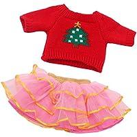 Lovoski 18インチアメリカガールドール人形のため 花柄 丸い襟 セーター トップ シャツ レーススカート ドレスアップ